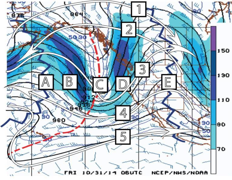 Part 2. Use and Interpretation of Weather Maps Figure 3 is the 300 mb chart for 06 UTC 31 October 2014. Note Lines A, B, C, D, and E and also note the Arrows Labeled 1, 2, 3, 4, and 5.