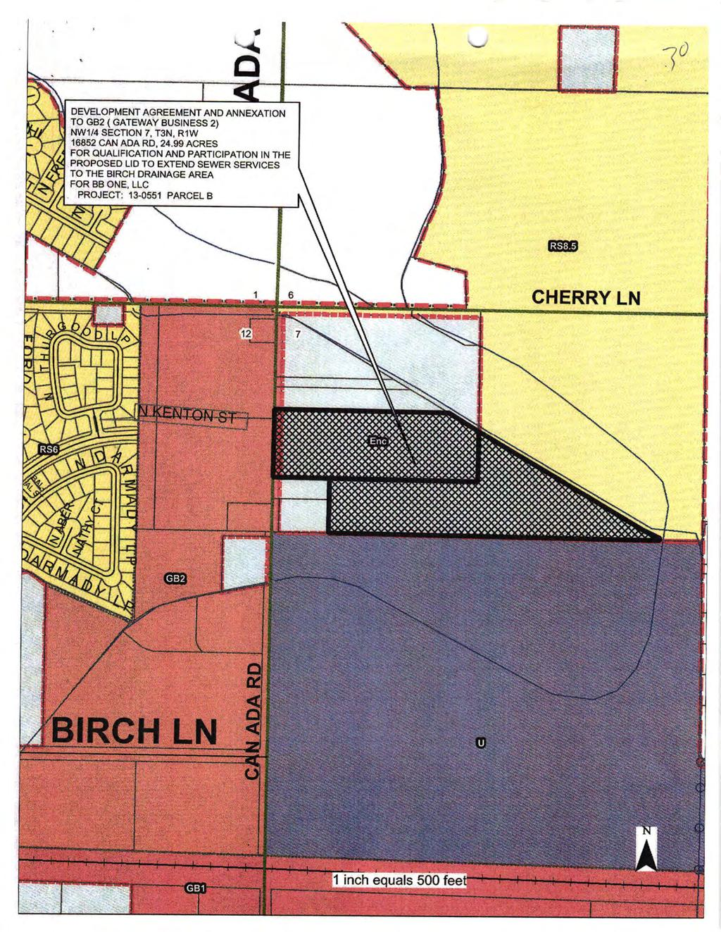 '{ 3 0 DEVELOPMENT AGREEMENT AND ANNEXATON TO GB2 ( GATEWAY BUSTNESS 2) NW1/4 SECON 7, T3N. R1W 16852 CAN ADA RD, 24.