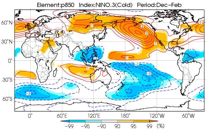 ENSO and climate in Japan (La Niña winter (DJF)) Composite map - In the upper