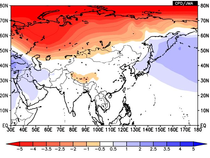 AO and climate in Japan In January of negative AO, anticyclonic anomalies prevail over the Arctic. This is associated with a weak polar vortex and a wavy polar jet.