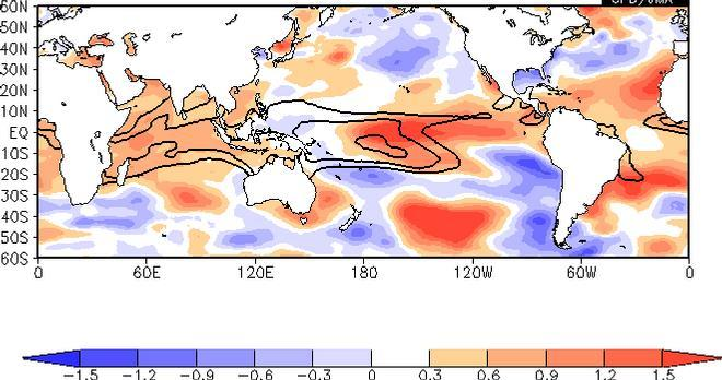 SST Composite Map In El Nino Phase (DJF) Contours: analysis, Shadings: anomaly, Statistical period: 1979 2009