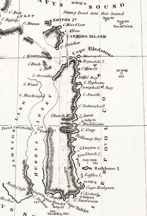 Fig. 3. Part of the chart of the East Greenland coast drawn up by William Scoresby Jr. in 1822, showing the numerous features that he named in Liverpool Land (Liverpool Coast) and adjacent areas.