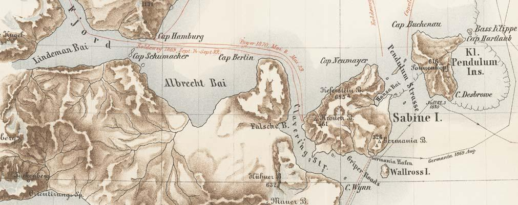 Fig. 6. Segment of the map just north of 74 30 N produced by Karl Koldewey s 1869 70 expedition. From: Verein für die Deutsche Nordpolarfahrt in Bremen (1873 74).