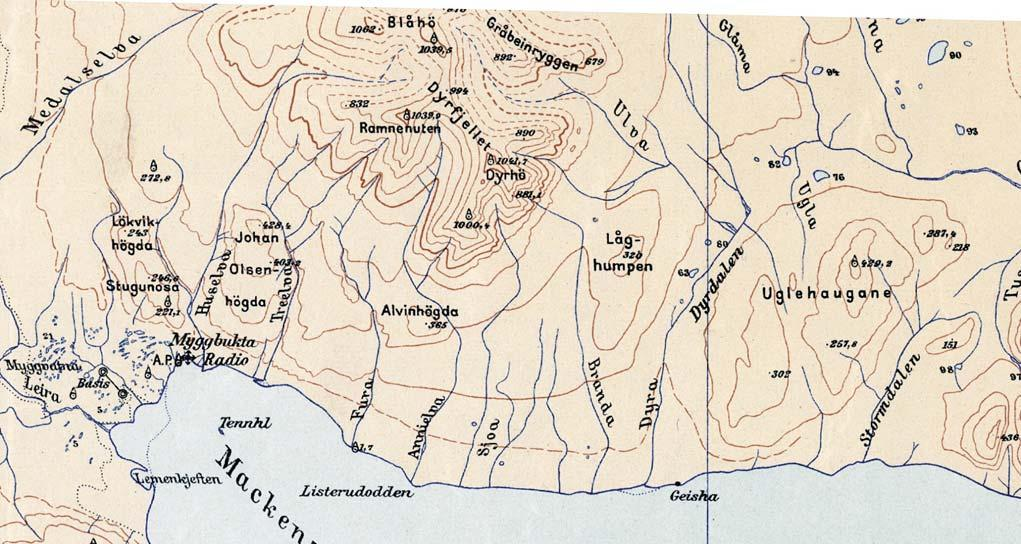 Fig. 13. Part of the 1932 map by Norges Svalbard- og Ishavsundersøkelser (NSIU) at a scale of 1:200 000.