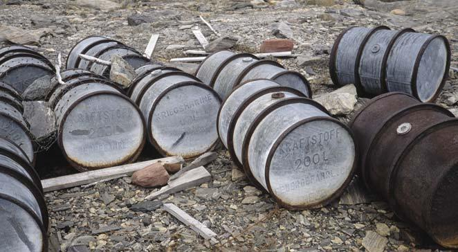 Fig. 17. Depot of fuel drums laid out by a German meteorological expedition at Røseløbet, Lille Koldewey, on 1 October 1944.