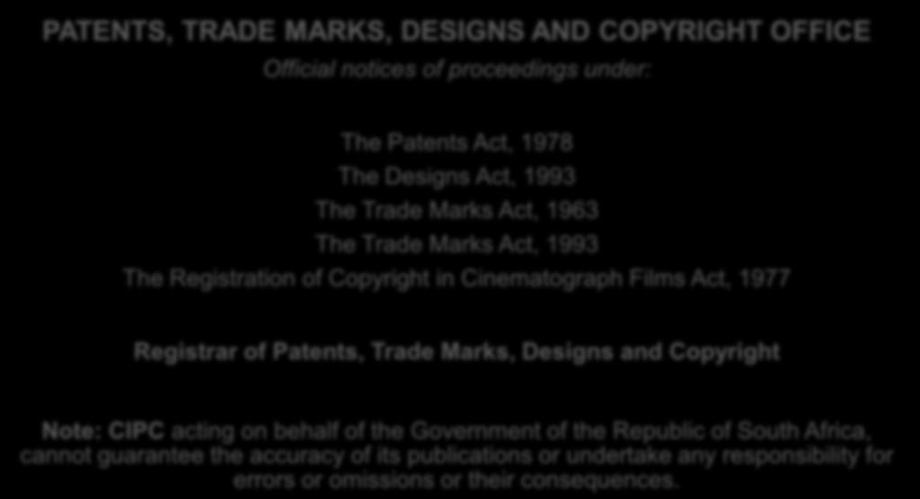Patent journal including trade marks designs and copyright in the trade marks act 1963 the trade marks act 1993 the registration of copyright fandeluxe Image collections