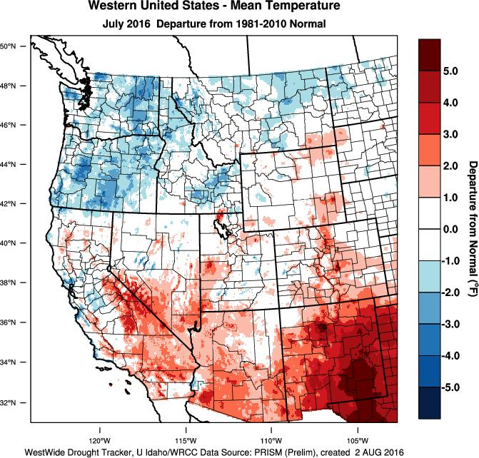 Weather and Climate Summary and Forecast Summer 2016 Gregory V. Jones Southern Oregon University August 5, 2016 The month of July saw the continued flip, flop of the western US temperatures.