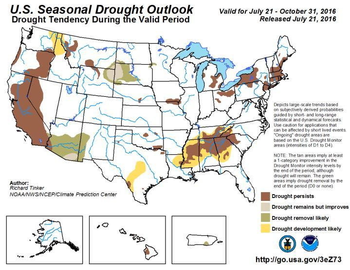 The US seasonal drought outlook forecasts that the driest regions in California, Nevada and eastern Oregon will likely persist through the end of October and beyond, while drought development is