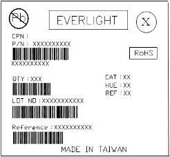 Moisture Resistant Packing Materials Label Explanation CPN: Customer s Product Number P/N: Product Number QTY: Packing Quantity CAT: Luminous Intensity Rank HUE: Chromaticity Coordinates