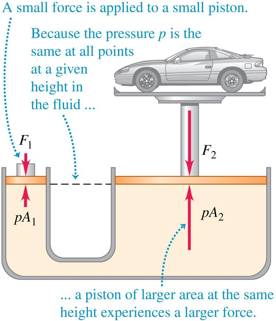 Pascal s law Pascal s law: Pressure applied to an enclosed fluid is transmitted undiminished to every portion of the