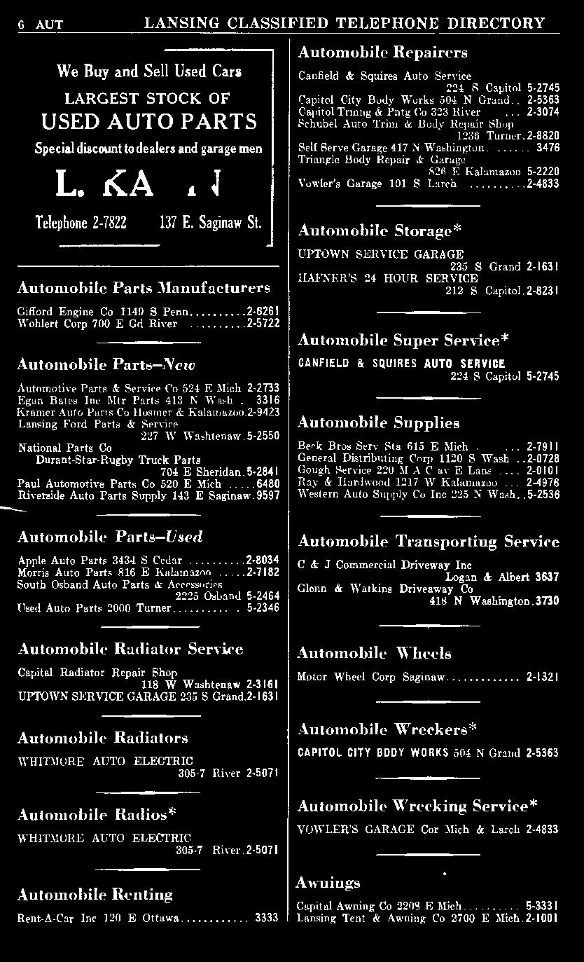 9597 Automobile Repairers Canfield & Squires Auto Service 224 S Capitol. 5-2745 Capitol City Body Works.504 N Grand... 2-5363 Capitol Trmng & Pntg Co 323 River.