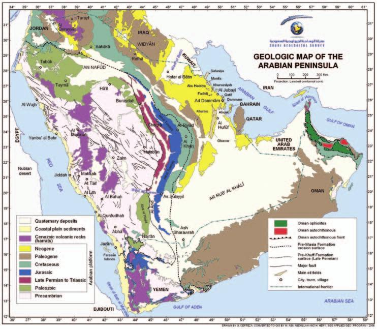 46 Saudi Arabia: An Environmental Overview Figure 3.1 Geological Map of the Arabian Peninsula (Courtesy: Saudi Geological Survey).