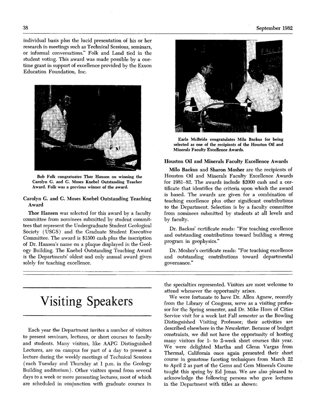 Departmentof Geologicalsciences Newsletter The University Of Texas Purpose Poe Network Switch Purposeof 38 September 1982 Individual Basis Plus Lucid Presentation His Or Her Research Inmeetings Such