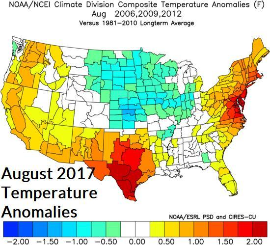 Fig. 15-17: Climate Impact Company constructed analog forecast for temperature and precipitation anomalies for