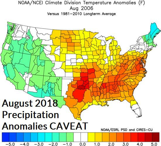 September: The late summer forecast widens heat suppressing rainfall stretching from Texas to the Ohio Valley.