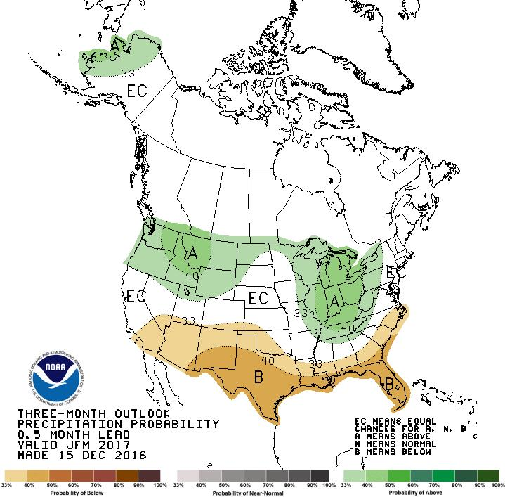 precipitation outlook from Climate Prediction Center, and the
