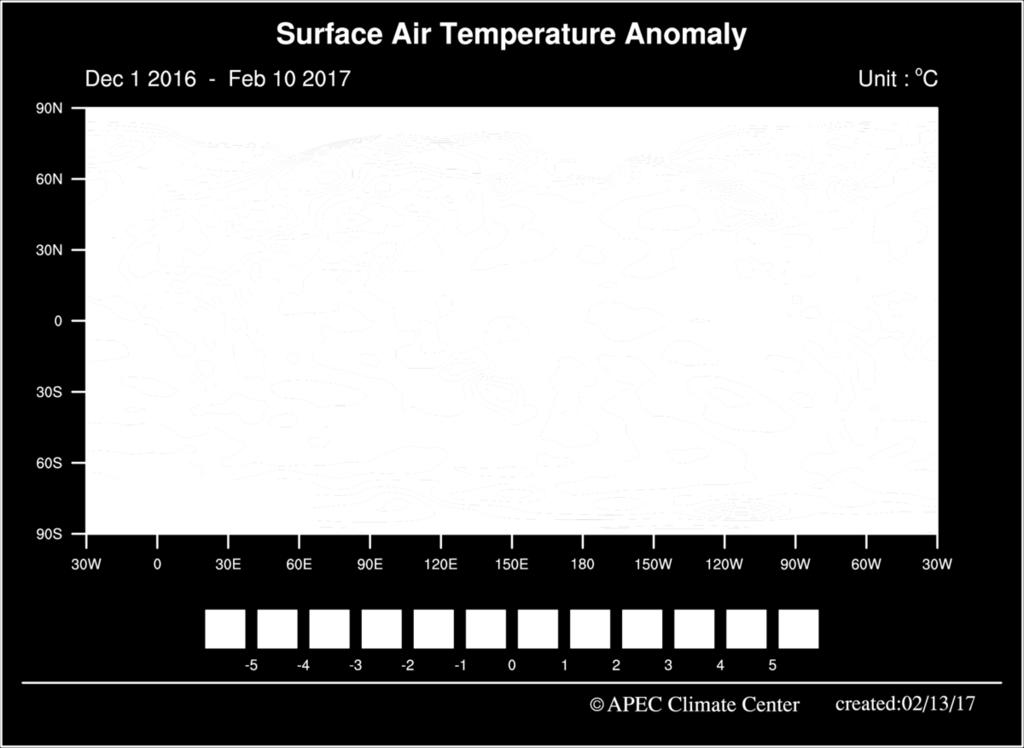 Fig. 1. Seasonal mean anomalies of the observed surface air temperature (1 December 2016 10 February 2017).
