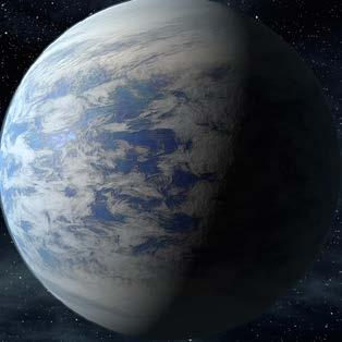 Kepler-62e is a superearth orbiting a star that is smaller and cooler than the Sun. It takes about 122 Earth-days to complete one orbit.