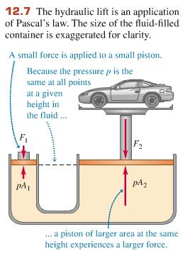 "so that F 2 F 1 mg = 0 becomes P 2 A P 1 A - ρahg = 0 P deeper level = P upper level + ""gh Clearly, the pressure increases as you go deeper in the fluid."