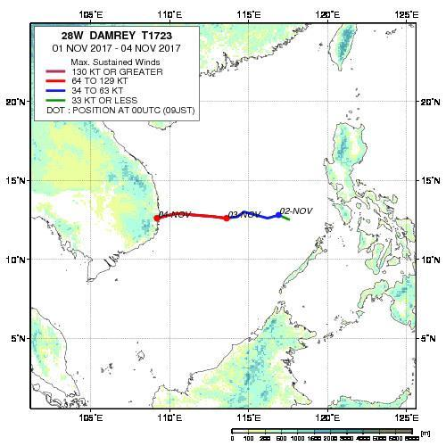 Figure 3: Historical storm track for Typhoon Damrey. (Source: JAXA) 1.4 On 1 November 2017, a tropical depression developed to the west of Cebu, the Philippines.