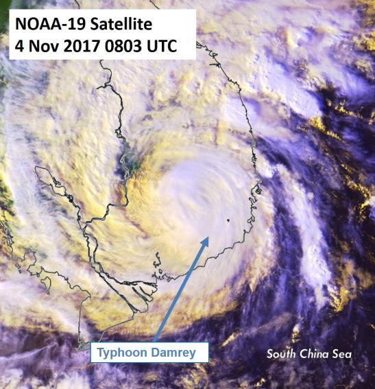 Figure 6: NOAA-19 satellite image on 4 Nov 2017 shows Typhoon