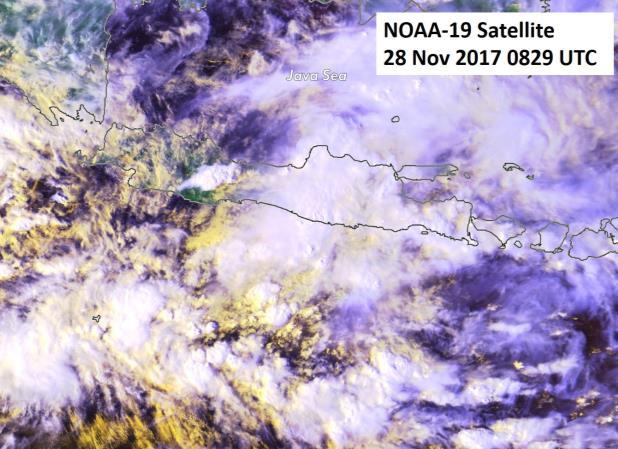 Figure 8: NOAA-19 satellite image on 28 Nov 2017 shows heavy