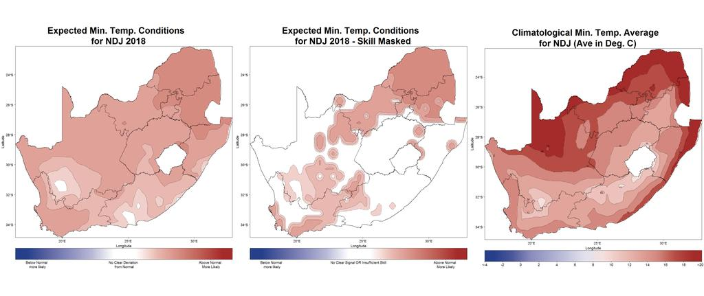 Figure 9: November-December-January (NDJ) 2018 seasonal minimum-temperature prediction without skill taken into account (left), as