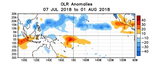 Figure 5. Average outgoing longwave radiation (OLR) anomalies (W/m 2 ) for the period 7 July 1 August 2018.