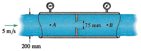 C. Workout Problem (30 points) 1. Water flows through the pipe in Figure 5 at 5 m/s. Between sections A and B, an orifice plate is installed, which has a round hole in its center.