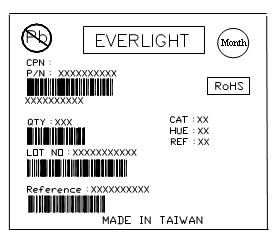 Label explanation CPN: Customer s Production Number P/N : Production Number QTY: Packing Quantity CAT: Rank of Luminous Flux HUE: Color Rank REF: Rank of Forward