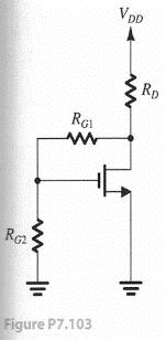 Problem 7.03 Figure P7.03 shows a variation of the feedback-bias circuit of Fig. 7.50. Using a 5V supply with an NMOS transistor for which Vt 0.