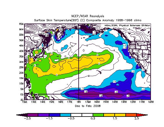 During the winter (DJF) of 2007-08, a band of positive SST anomalies was prominent from coast of southeast Asia cross the central North Pacific to north of the Hawaiian Islands.