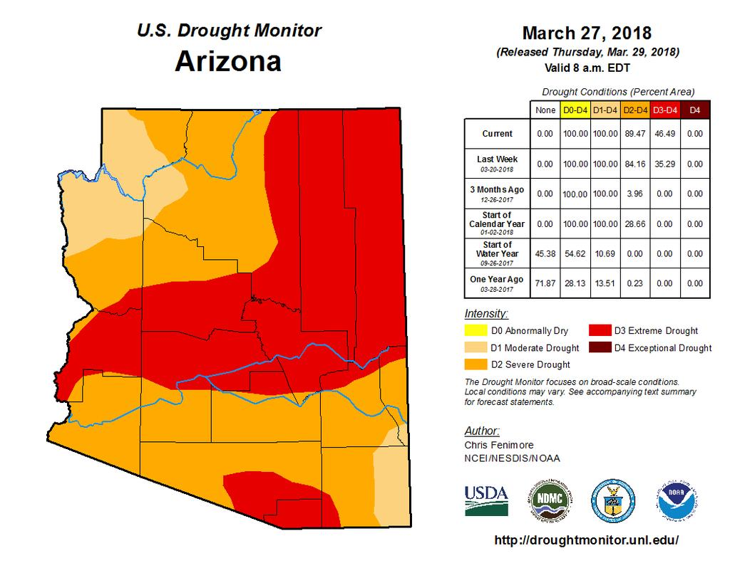 Short term drought maps for March 27 th on left and May 1 st on right. The extremely dry April led to an expansion of Severe Drought (D2) through northern Mohave County.
