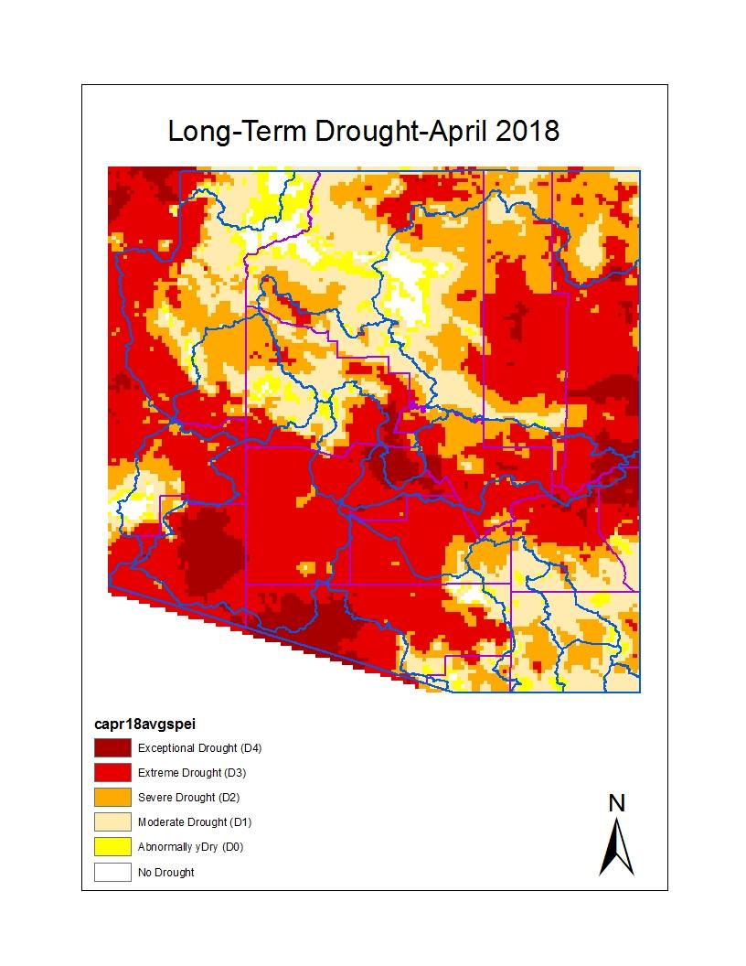 Long-term drought map for April for Arizona shows hydrologic drought, and this month it is based on precipitation and evaporation using the Standardized Precipitation Evaporative Index (SPEI) over
