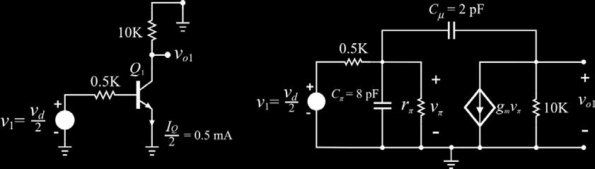Question 11 Consider the differential amplifier below. Determine the low-frequency, singleended differential-mode gain A vd = v O1 v d and the upper 3-dB frequency.