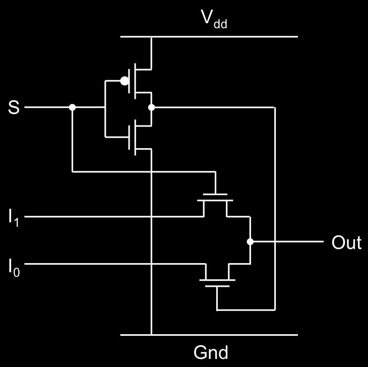 The following 2-input multiplexer implementation using pass transistors and a CMOS inverter shown below is used: Using the first-order RC model, report delay from this R un input