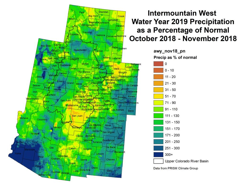 current month-to-date accumulated precipitation in inches; last month's precipitation as a percent