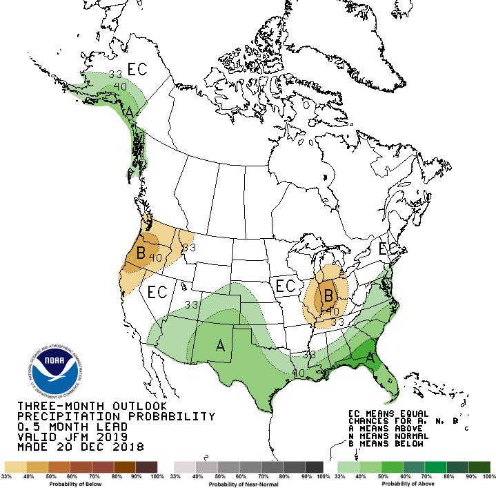 The bottom left image shows the 3-month precipitation outlook