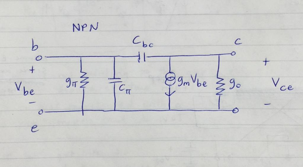 c. Repeat for the NPN (common emitter). This is just the hybrid-pi equivalent again from problem 1.
