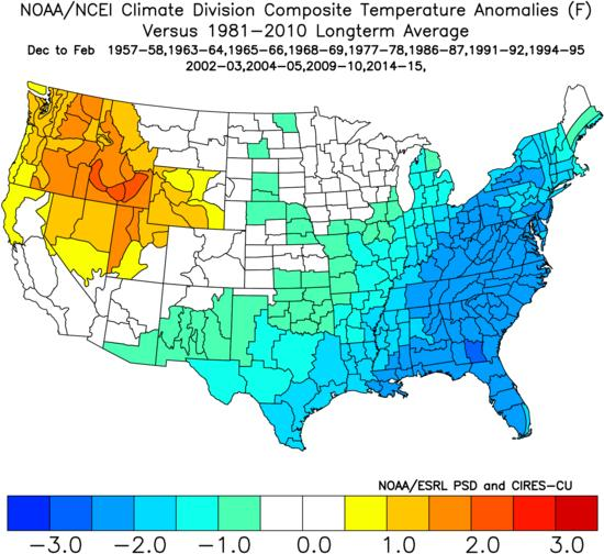 Here s a map of Modoki El Nino winters in the country and how the temperatures looked: These for sure bring a