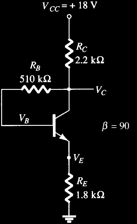 *64. Answer the following questions about the circuit of Fig. 4.159 : a. What happens to the voltage V C if the resistor R B is open? b. What should happen to V CE if b increases due to temperature?