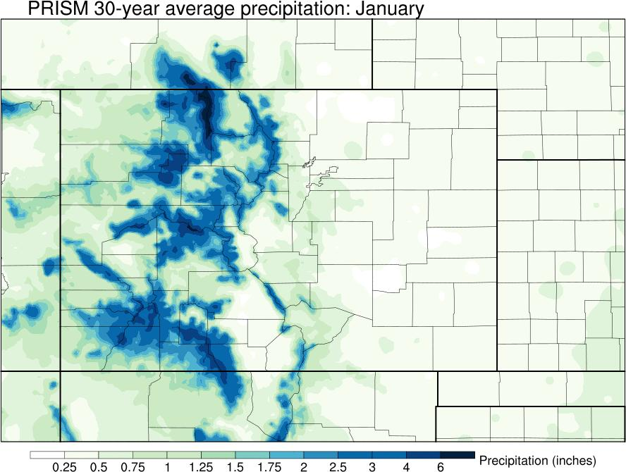 Average monthly precipitation