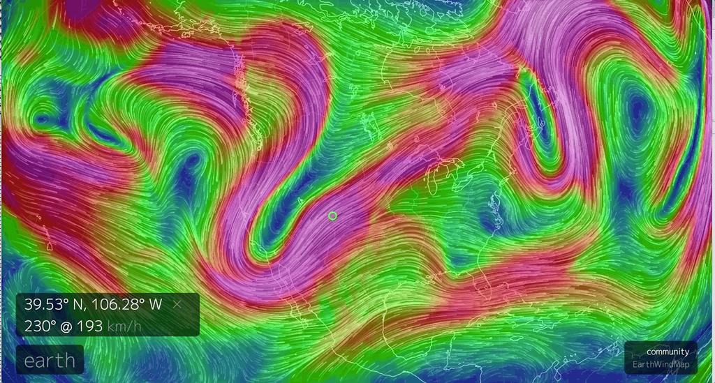 The jet stream: a big driver of weather! From earth.nullschool.