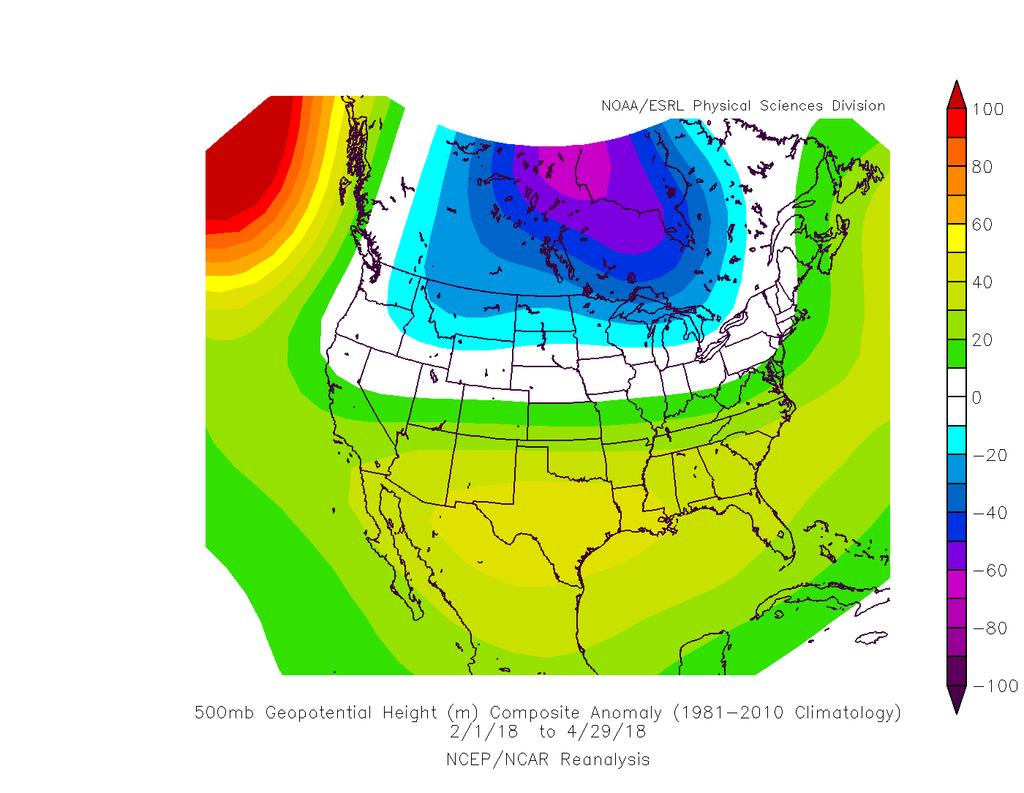 Jet stream-level, February-April More typical of La Niña, favoring northern mountains,