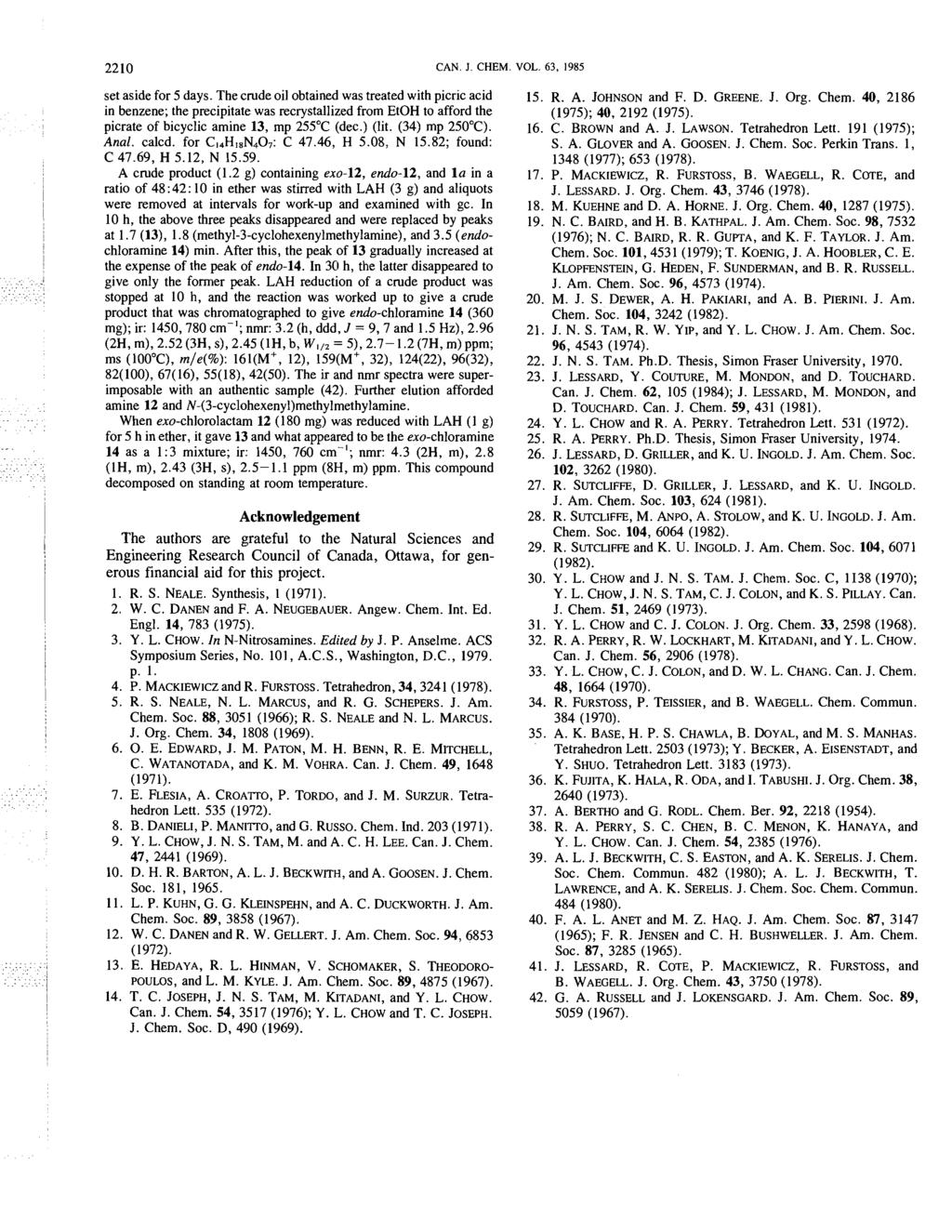 2210 CAN. J. CHEM. VOL. 63, 1985 set aside for 5 days.